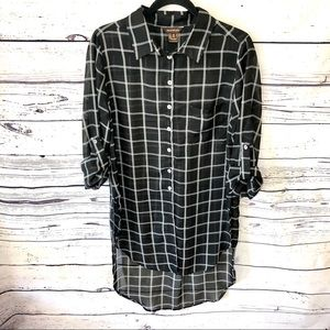 Multiples Sheer Button Up High/Low Tunic Size M